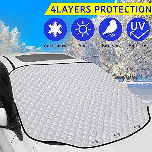 KIBTOY Autoscheibenabdeckung Winter Frontscheibenabdeckung Schutz Auto Windschutzscheibe Schneedecke Frost Eisentfernung für den Winterschutz Passend für PKW LKW Vans und SUVs(183×116cm)