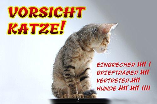 Schatzmix Vorsicht Katze blechschild, lustig, Comic, metallschild