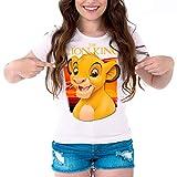Camiseta Cine Mujer El Rey León, Simba (Blanco, M)