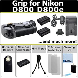 Professional Vertical D800 D800e Multi Purpose Battery Grip for Nikon D800 D800e DSLR Camera + 2 EN-EL15 Long Life Batteries + AC/DC Turbo Charger With Travel Adapter + Universal Wireless Remote + All In One Card Reader + Complete Deluxe Starter Kit (MB-D12 MBD12)