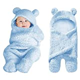 XMWEALTHY Cute Baby Items Newborn Plush Nursery Swaddle Blankets Soft Infant Girls Clothes Light Blue