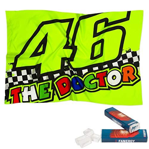 Valentino Rossi Fahne Race gelb + 2X FANERGY Traubenzucker