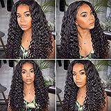 Peluca brasileña con frente de encaje en la parte media Cabello humano 100% peluca de pelo Remy real para mujeres negras Pelucas rizadas profundas negras largas y onduladas (22 pulgadas)