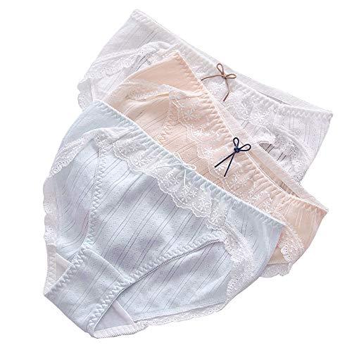 Laisve 綿100%パンティー フリル ショーツ 3本セット 大きいサイズ下着 学生ショートパンツ コットン レースフリル レディース ブルー オレンジ ホワイト L
