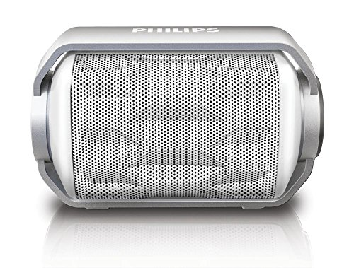 Philips BT2200W/27 Bluetooth Wireless Portable Speaker with Built-in Microphone and Rechargeable Battery (White)