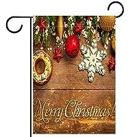 春夏両面フローラルガーデンフラッグウェルカムガーデンフラッグ(28x40in)庭の装飾のため,クリスマス パイン ツリー おもちゃ 木製