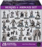 28 Miniatures Hero & Animals for DND Miniatures 28mm Bulk Dungeons and Dragons Miniatures I for D&D Miniatures & DND Minis Tabletop Fantasy Miniatures & D&D Figures I Campaign Setting & Quest