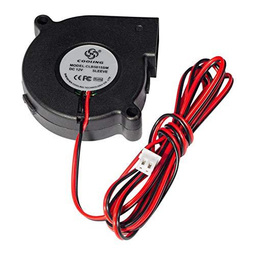 Fesjoy Ventilador de enfriamiento del extrusor, 5015 Sin escobillas Ventilador del Ventilador de refrigeración DC 12 V 0.19A Turbo Pequeño Ventilador Cojinete de Aceite Ultra silencioso 6500 RPM