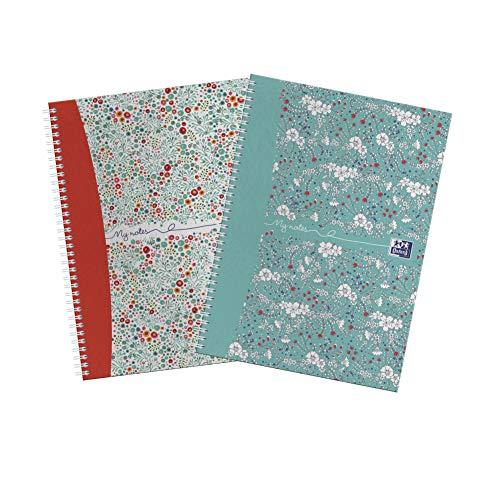 Oxford My Notes, cuadernos de tapa dura, tamaño A5, 2 unidades, diseño floral y floreado, 140 páginas