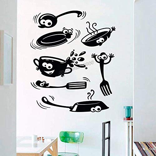 WERWN Utensilios de Cocina Etiqueta de la Pared Arte Cuchillo Tenedor Cuchara Etiqueta de la Pared Etiqueta de la Pared de la Cocina Arte de Vinilo de Cocina