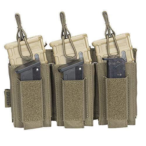 EXCELLENT ELITE SPANKER Open-Top Single/Double/Triple Mag Pouch for M4 M14 M16 AK AR Elastic Kangaroo Rifle Magazines and Pistol Mag Pouch(Ranger Green)