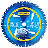 Overpeak 7-1/4 Inch Circular Saw Blade Carbide Ultra Finish Saw Blades with 5/8 Inch Arbor and PermaShield Coating
