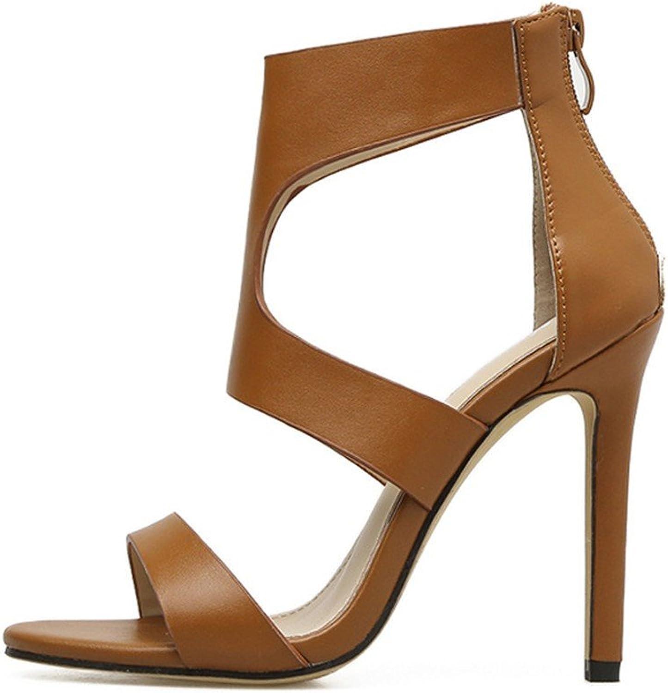 MEIREN sandal Meiren Open Toe Bag with Women's shoes Belt Nightclub High Heels Zipper Stiletto New Lady Light Brown