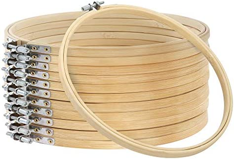 Caydo 12 Pieces 3 Inch Wooden Round Embroidery Hoops Adjustable Bamboo Circle Cross Stitch Hoop Ring Bulk Wholesale for Home Ornaments, Art Craft Handy Sewing