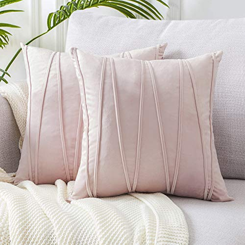 Top Finel Square Decorative Throw Pillow Covers Soft Velvet Outdoor Cushion Covers 18 X 18 for Sofa Bed, Set of 2, Pink