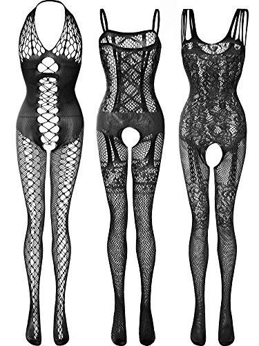 3 Piezas de Medias de Encaje de Mujeres Traje de Cuerpo de Rejilla Floral Lencería Ropa de Dormir para Vestido de Cita Romántica (Conjunto de Colores 4) (Ropa)