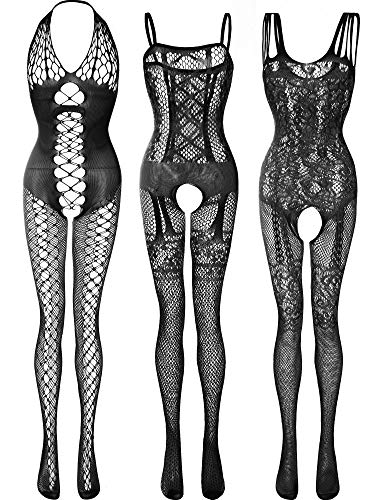 3 Stücke Damen Spitze Strümpfe Blumen Fischnetz Bodys Dessous Nachtwäsche für Romantische Datum Tragen (Farbe Set 4)