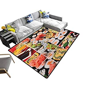 Anti-Skid Area Rug Japanese, Silky Smooth Bedroom Mats Cuisine Sushi Fish Raw Meat Rolls South East Fast Food Ceremony…