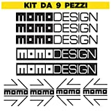 Momodesign – Kit de 9 piezas – Color negro – Stickers calcomanías compatibles con Moto Tuning, Casco Momo Design, Auto Moto Tuning, MomoDesign, PVC adhesivo