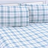 Mellanni 100% Cotton Flannel Sheet Set - Lightweight 4 pc Luxury Bed Sheets - Cozy, Soft, Warm, Breathable Bedding - Deep Pockets - All Around Elastic (Queen, Plaid Blue – Green)