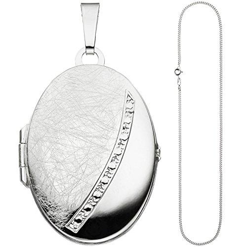JOBO Damen Medaillon oval Anhänger zum Öffnen für 2 Fotos 925 Silber mit Kette 60 cm