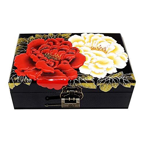 HAIHF sieradendoos, Chinese vintage opbergdoos, oosters houten sieradendoosje/kast/opbergdoos met zwart lak, sieradenorganisator A