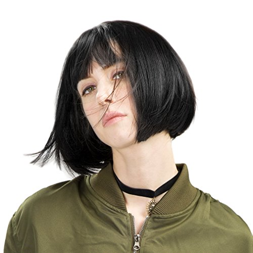 """REECHO 11"""" Short Bob Wig with bangs Synthetic Hair for White Black Women Color: Black"""