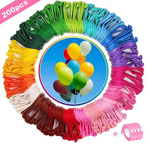 BOYATONG 200 Luftballons bunt in 20 Farben,bunt Luftballons für Party & Deko ,Luftballons Helium,Dekorative Luftballons für Taufe, Hochzeit,Geburtstag, Garten Party ,Naturlatexballons