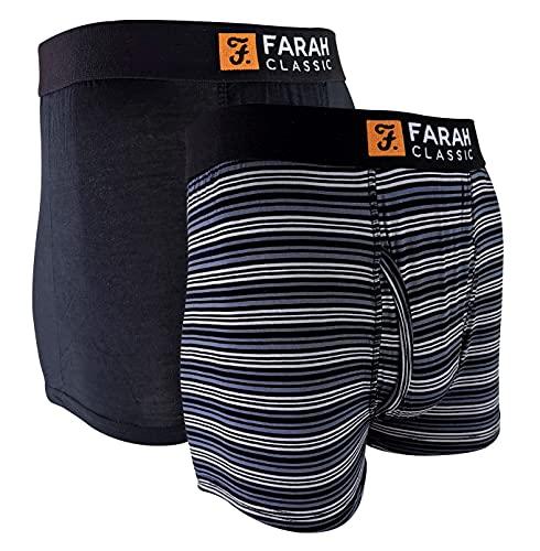 FARAH® - 2er Pack Herren Bambus Viskose Boxershorts | Trunks mit Uni & Gestreift Design | Unterhosen Bambusfaser (Schwarzer Streifen, XXL)