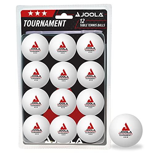JOOLA Tischtennisbälle Tournament 3-Stern 12er Blister Pack Selektierte 40+mm Durchmesser Premium Tischtennis-Trainings-Bälle Indoor und Outdoor Kompatible, Weiss,