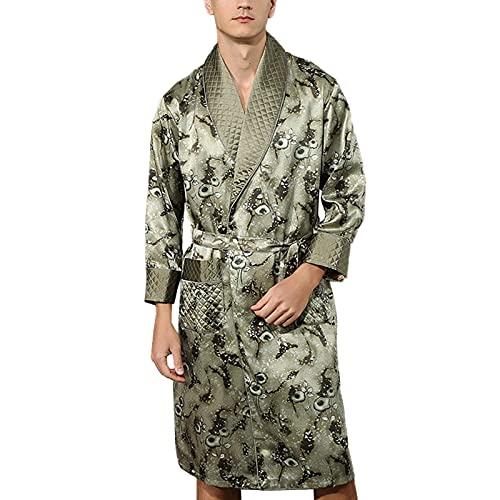 Hombre Bata Seda 100% Albornoz Largo Bata de Baño Ropa de Dormir Casual Kimono,para Piscina Sauna SPA Hotel Party,Verde,XL