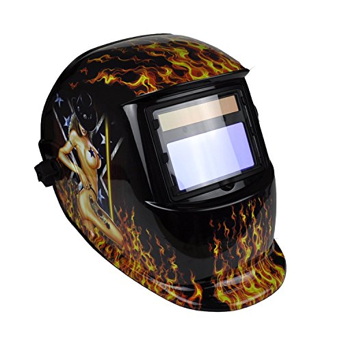 Instapark ADF Series GX-500S Solar Powered Auto Darkening Welding Helmet with Adjustable Shade Range #9 - #13(Flamy Hot)