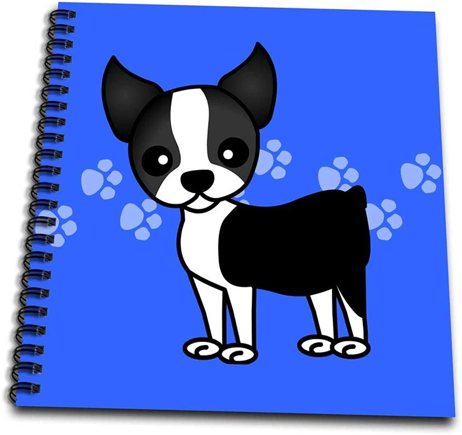 3dpink Cute Boston Terrier bluee Pawprint BackgroundDrawing Book, 8 by 8  (db_12085_1)