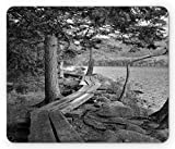 Lunarable Acadia Mouse Pad, Jordan Pond Hiking Trail Boardwalk Through Woods and Lake Vintage Photo, Standard Size Rectangle Non-Slip Rubber Mousepad, Dark Grey and Pale Grey