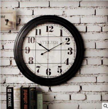 cleck Reloj de hierro para decoración de interiores, colgante decorativo, estéreo europeo, digital, reloj retro, para salón, 18 cm, color negro