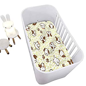 Hiiiman Kids Crib Fitted Sheet,Modern Puppy Dog Paw Pattern Breathable Cozy Baby Sheet for Standard Crib and Toddler mattresses Nursery Bedding Sheet Crib Mattress Sheets for Boys and Girls,28″ x 52″