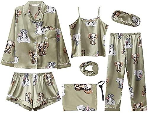 SSFZ Conjunto de pijama para mujer con estampado de flores, 7 piezas de seda sexy Cami y pantalones cortos de rayas de dibujos animados pijamas pantalones-elefante_S-M