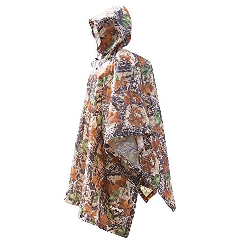 TOM SHOO Regenjacken Regenponcho Regenmantel Wasserdicht Unisex Camping Zelt Campingdecke Tarp Zeltplane, 3-in-2 Multifunktionaler Regencape für die Jagd Camping, Wandern, Radfahren