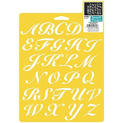 Delta Creative Stencil Mania Stencils, 7 by 10-Inch, Script Alphabet