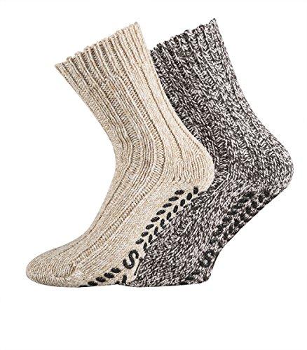 TippTexx24 2 Paar dicke ABS-Socken/Stopper-Socken EIN ECHTER HAUSSCHUH-ERSATZ (39/42, Braun-Beige Naturtöne)