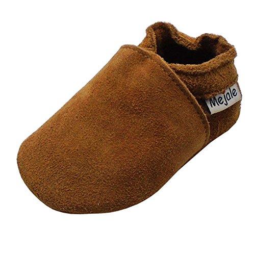 Mejale Baby Infant Toddler Shoes Anti-Slip Soft Soled Leather Moccasin Pre-Walker (12-18 Months/US 5-6C Infant) Brown