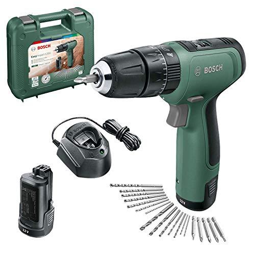 Bosch Home and Garden 06039D3102 Taladro percutor EasyImpact 1200, 2 baterías, Sistema de 12V, 19 Accesorios, en maletín de Transporte, 12 V