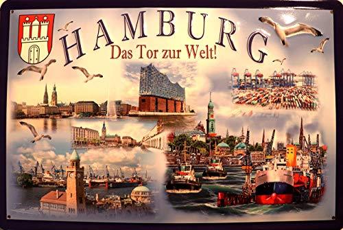 Hamburg Das Tor zur Welt ! Blechschild Schild Blech Metall Metal Tin Sign 20 x 30 cm