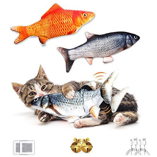 FAYOGOO Giochi per Gatti 2 PACCHI,Catnip Giocattoli Elettrici per Pesci,Giocattolo interattivo Gatto,Simulazione Peluche di Pesce Giocattoli Interattivi per Gatti Gatto Cuscino con USB Ricaricabile