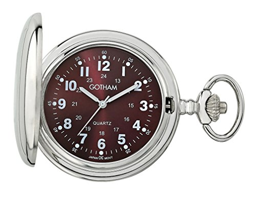 Gotham GWC15042SM Reloj de bolsillo de cuarzo con cubierta de acabado pulido, tono plateado, para hombre