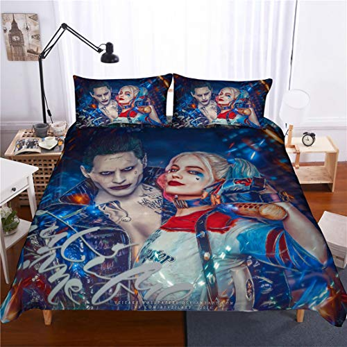 MODRYER Joker Chica Harley Quinn lecho pelotón del Suicidio 3D Print Adultos Duvet Cover Set para niños Super héroe del Juego de Cama con Cremallera Fundas 3Pcs,04-UK/Super King 260cmx220cm