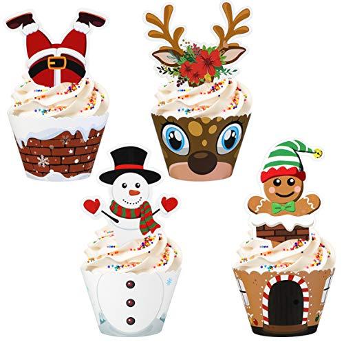 Hemoton 36 Set Cupcake E Topper Natalizi Unici Durevoli Decorazioni Per Torte Festive Festive Per Feste Natalizie