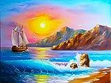 Barco de vela de mar mosaico bordado de diamantes paisaje de playa punto de cruz decoración del hogar 5D kit de pintura de diamante hecho a mano A7 60x80cm
