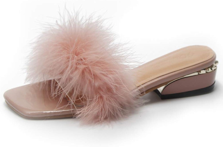 Zarbrina Women Flip Flops Ostrich Feather Slippers Fur Square Heel Ladies Wedges Indoor Slides Bohemian Style shoes