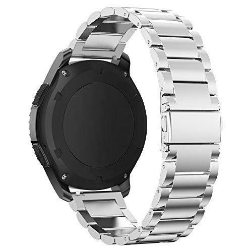 PINHEN 22mm Acero Inoxidable Correa - Gear S3 Pulsera Reemplazo Banda para Galaxy Watch 46mm, Moto 360 2 46mm, Huawei Watch GT, LG G Watch Urban, Ticwatch Pro, Pebble Time (Classic Silver)